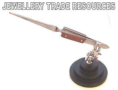 Jewellers Straight Reverse Soldering Tweezers On Stand Jewellery