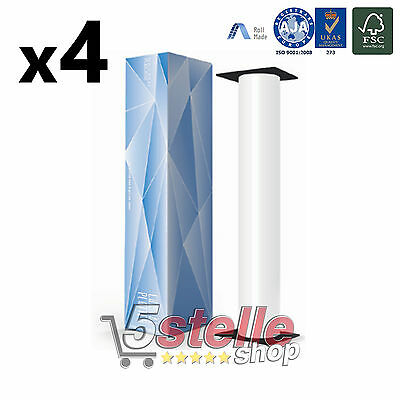 4 x ROTOLI PLOTTER F.TO cm 61x50 mt 80 gr/mq ANIMA 50 CARTA BIANCA A1