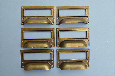 Set Of 6 Brass Filing Cabinet Label Handles File Drawer Handle Furniture Fd2