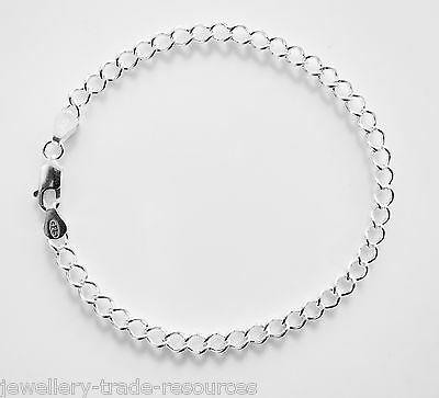 "New 7"" 925 Sterling Silver Curb Chain Bracelet 4mm Wide"
