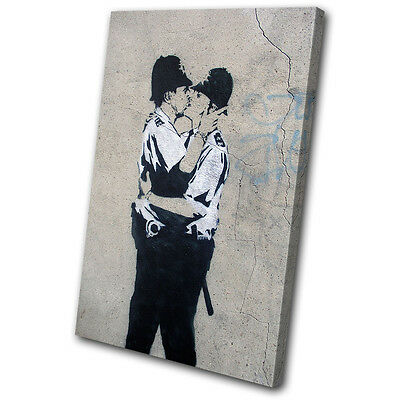 Banksy Street Kissing Coppers SINGLE CANVAS WALL ART Picture Print VA