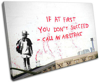 Airstrike Banksy Street SINGLE CANVAS WALL ART Picture Print VA