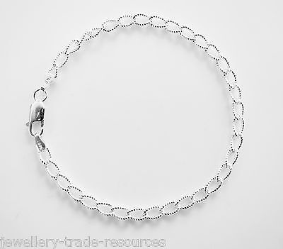 "New 7"" 925 Sterling Silver Brilliant Curb Chain Bracelet 4mm Wide"