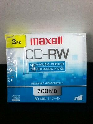 Maxell  CD-RW 700 MB 3-Pack With Cases 80 Minutes 1X-4-X Data/Music/Photos