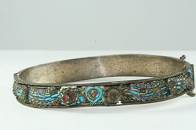 Antique Chinese Silver Kingfisher Feather Dragon Bracelet