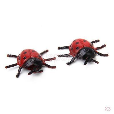 6Pcs Plastic Insect Ladybird Ladybug Beetle Kids Education Toy Home Table Decor