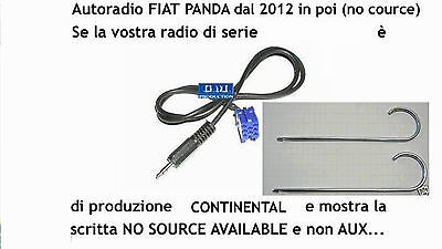 "Kit Cavo aux Fiat Panda 2012 a 2015 radio display ""no source available"" da 1,4mt"