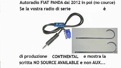 "Kit Cavo aux Fiat Panda 2012 a 2018 radio display ""no source available"" da 1,4mt"
