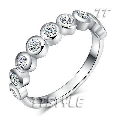 TT 18K White Gold Plated Inlaid Clear Sparking CZ Wedding Band Ring (RF91)