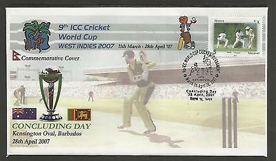 NEPAL 2007 ICC CRICKET WORLD CUP in WEST INDIES FINAL DAY COVER