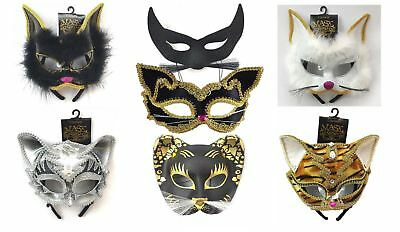 Ladies Cat Masquerade Jewelled Face Mask Ballroom Fancy Dress Accessory