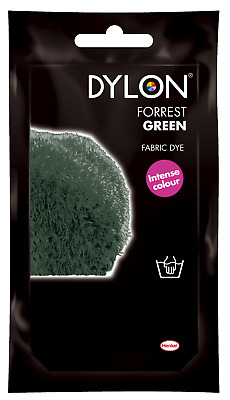 FOREST GREEN DYLON HAND WASH FABRIC CLOTHES DYE 50g TEXTILE PERMANENT COLOUR