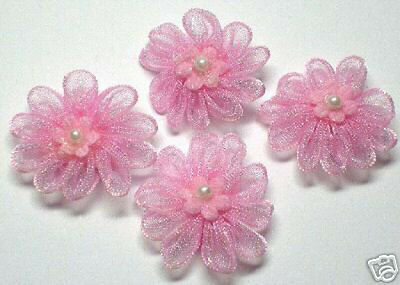 Organza Flower w/ pearl Sewing Applique x 50 Pink-For Bridal/Dress/Craft