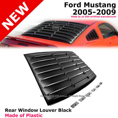 Ford Mustang 05-14 Coupe GT Rear Back Window Louver Black Cover Shield Screen