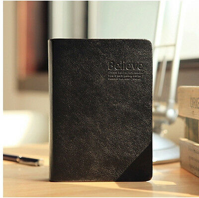 Black Leather-bound Biblia Style Notebook Diary Book Thick Doodles Notebook 640P