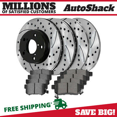 [Front & Rear Set] 4 Performance Rotors and 8 Premium Ceramic Pads for an Accord