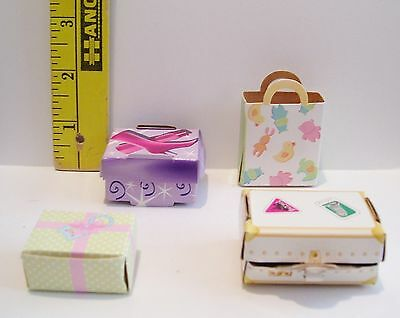 BARBIE DOLL GENUINE MATTEL CARDBOARD GIFT BAGS & BOXES ACCESSORY LOT