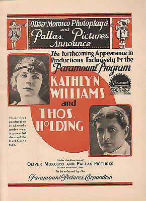 Kathlyn Williams Thomas Holding 1916 Ad- on Paramount/Redeeming Love
