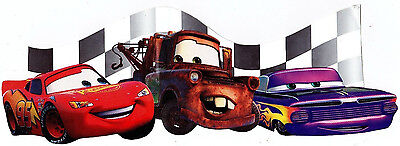 """8.5"""" DISNEY CARS MCQUEEN MATER CHARACTER  PEEL STICK WALL BORDER CUT OUT"""