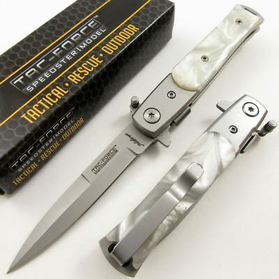 SPRING-ASSIST FOLDING POCKET KNIFE   Tac-Force White Pearl Tactical Stiletto EDC