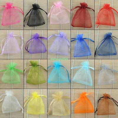 Gift Bags Plain Organza Drawstring Jewelry Pouches for Wedding Party Candy 100X