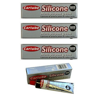 3 x CARLUBE SILICONE MULTI PURPOSE GREASE 70g - WATER REPELLENT RESISTANT