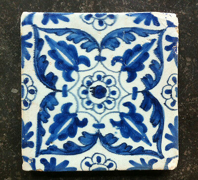 Antique Dutch Delft Tile Floral/Ornamental 17th C.