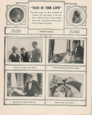 Edna Maison Beatrice Van Ray Gallagher 1914 Ad- This Is The Life/Powers Comedy