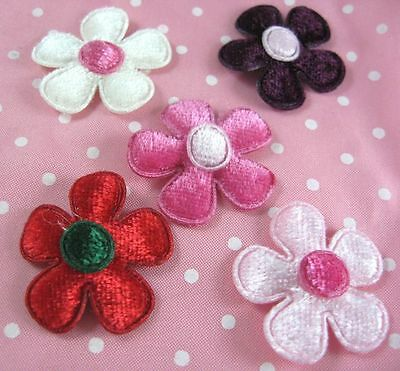 Padded Velvet Flower Appliques x75 Mix-DIY Hair Bow