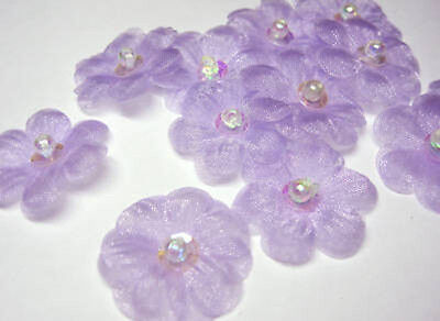 """1"""" Organza Sequin Beaded Flower Appliques x 60 Lilac"""