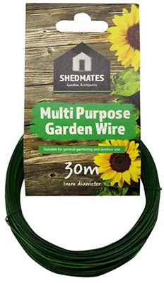 30m MULTI PURPOSE GREEN PVC PLASTIC COATED GARDEN TYING WIRE (1mm) GSW102