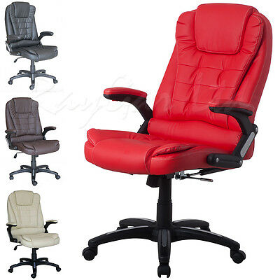 RayGar Executive Padded High Back Luxury Leather Reclining PC Office Desk Chair