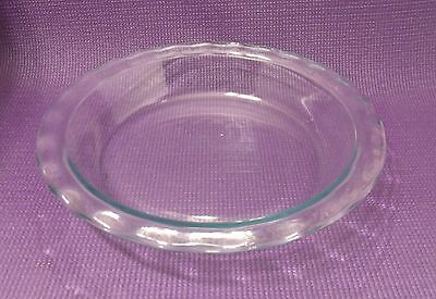 "PYREX 9.5"" CLEAR GLASS PIE PLATE BAKER  2"" DEEP  WIDE FLUTED EDGE  USA  No. 209"