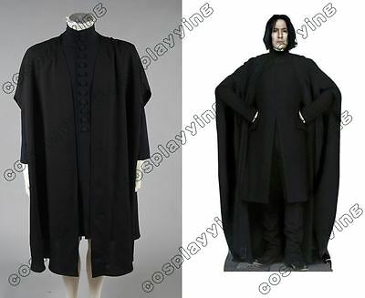 Harry Potter Deathly Hallows Severus Snape Cosplay Costume Cape Cloak Robe