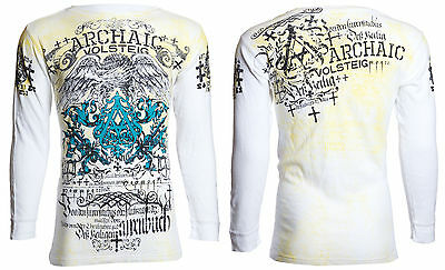 Archaic AFFLICTION Mens THERMAL T-Shirt CYANIDE Biker UFC American Fighter $58