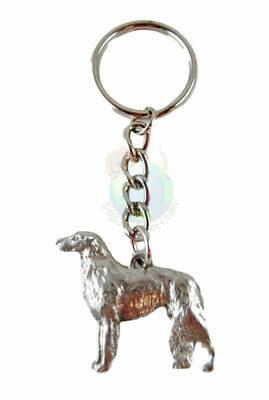 Borzoi Keychain Key Chain Ring Fine Pewter