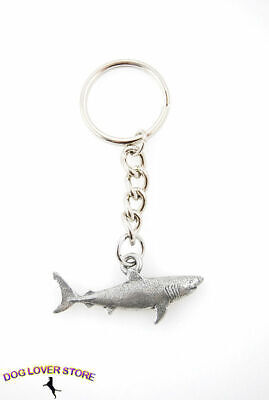 Great White Shark Fine Pewter Silver Keychain Key Chain Ring