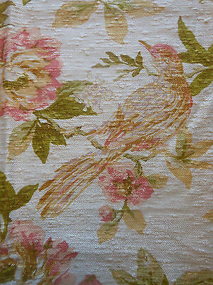 Vintage Sweet Birds Floral Fabric ~ Peach Gold Green~Pillows Upholstery Windows