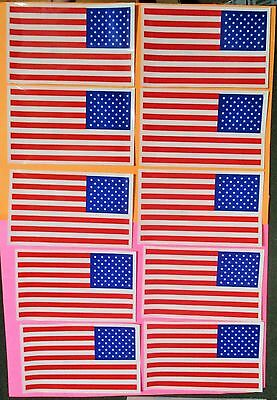 """10 MADE in USA 5"""" x 3"""" VINYL AMERICA AMERICAN FLAG Static CLINGS New"""