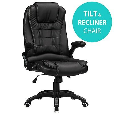 RayGar Black Reclining Office Chair Executive Home Swivel PC Computer Desk Chair