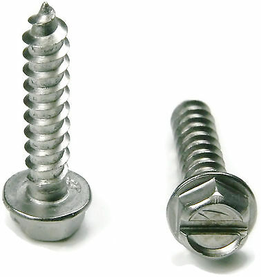 Stainless Steel Slotted Hex Indented Head Sheet Metal Screw #8 x 1/2, Qty 100