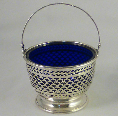 Pierced Sterling With Cobalt Liner Sugar Basket By Watson