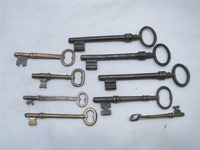 Lot 9 Antique Skeleton Door Keys Lg Iron Early Brass Lock Steampunk Jewelry