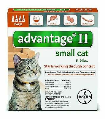 Advantage II for Small Cats (5 - 9 lbs, 4 Month Supply) USA EPA Approved