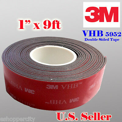 """3M 1"""" x 9 ft  VHB Double Sided Foam Adhesive Tape 5952 Automotive Mounting 25mm"""