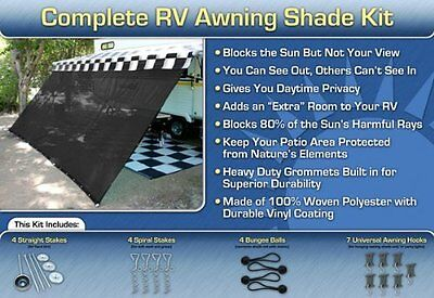 RV Awning Shade Kit Black Motorhome Awning Screen Trailer Kit 8x15