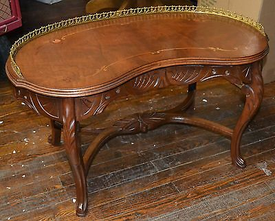 ANTIQUE KIDNEY SHAPED INLAID CARVED FRENCH COFFEE TABLE - BRASS GALLERY