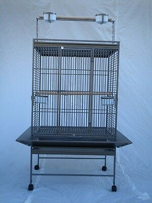 BIRD PARROT WROUGHT IRON CAGE PLAYTOP 32x23x68 Antique Silver