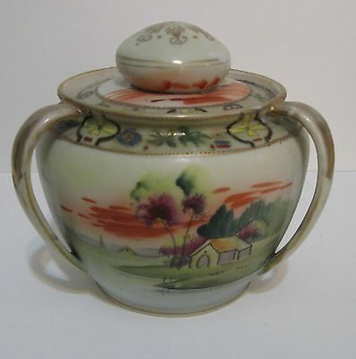 Antique NIPPON Scenic Hand Painted Moriage Triple Handle Humidor Jar with Lid