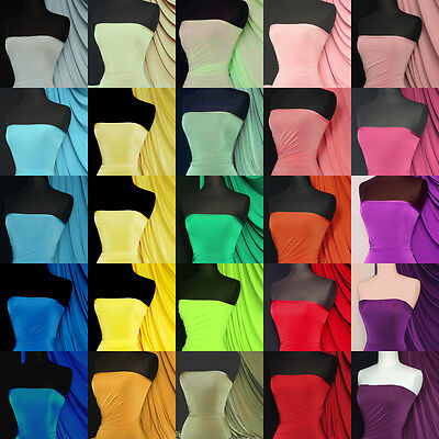 Silk touch 4 way stretch jersey lycra fabric material Q53 Red Blue Green Yellow